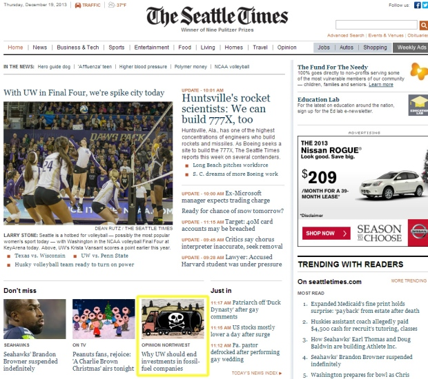 My column featured on The Seattle Times homepage on December 19, 2013