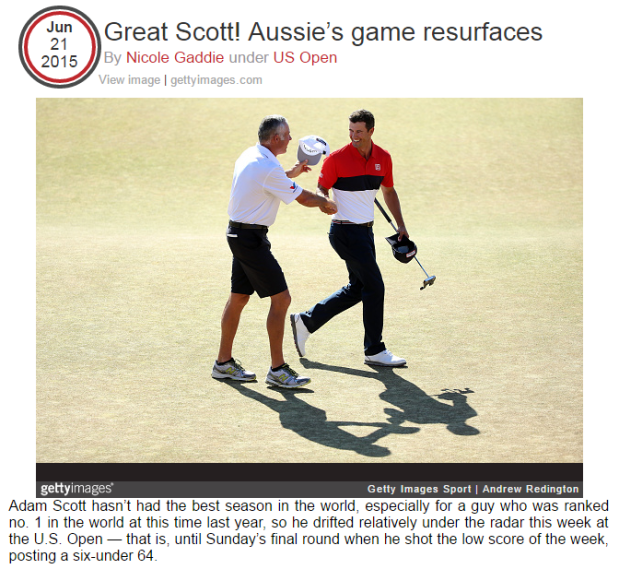 Great Scott  Aussie's game resurfaces   Wei Under Par