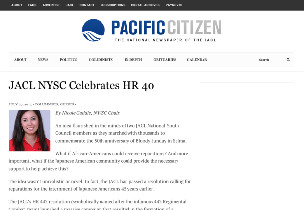 JACL NYSC Celebrates HR 40 Pacific Citizen The National Newspaper of the JACL