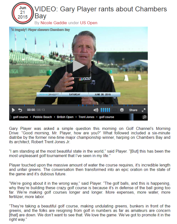 VIDEO  Gary Player rants about Chambers Bay   Wei Under Par